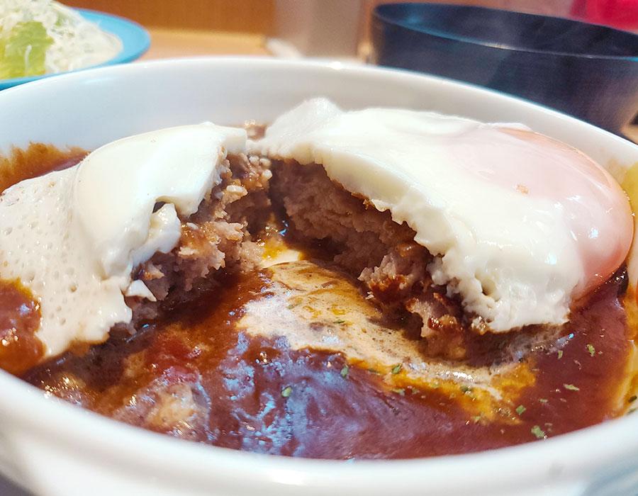 [松屋]ブラウンソースエッグハンバーグ定食(600円)